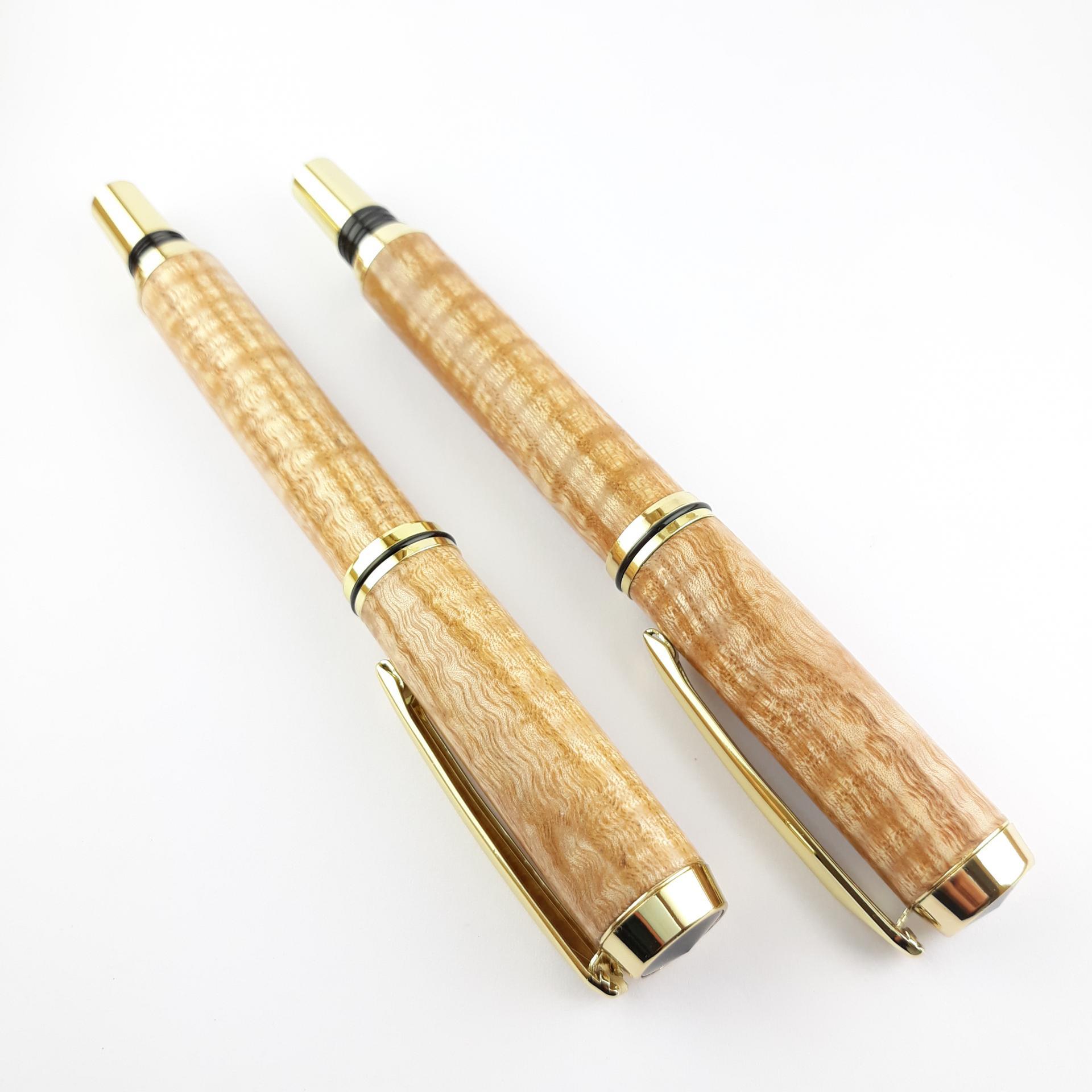 Parrure stylo plume et roller en hetre ondule